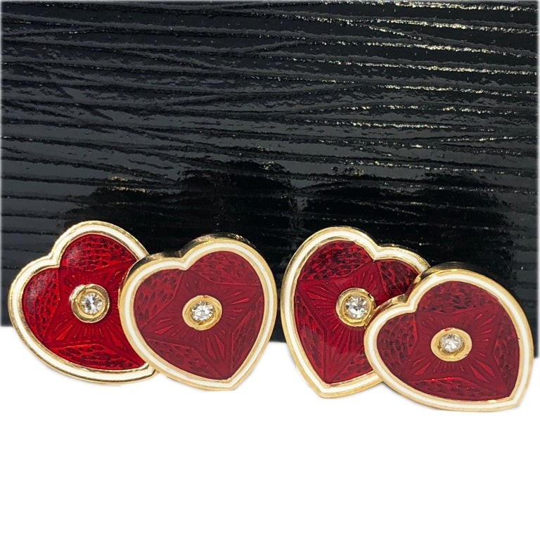 Diamond Red White Champlevé Enameled Heart Shaped Gold Cufflinks 19