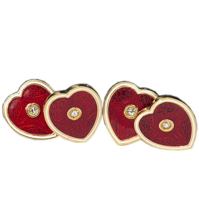 Diamond Red White Champlevé Enameled Heart Shaped Gold Cufflinks For Sale