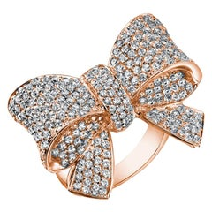 White Diamond Rose Gold Bow Ring