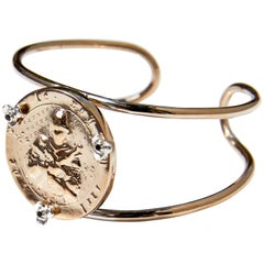 Joan of Arc Medal Coin Arm Cuff Bangle White Diamond  Silver Bronze J Dauphin