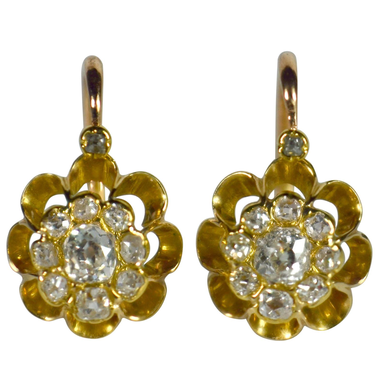 White Diamond Rose Yellow Gold Dormeuse Drop Cluster Earrings