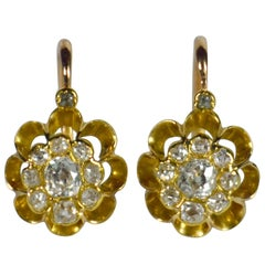 White Diamond Rose Yellow Gold Dormeuse Drop Cluster Earrings