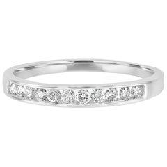 White Diamond Round 0.25 Carat Channel Set Gold Bridal Fashion Band Ring