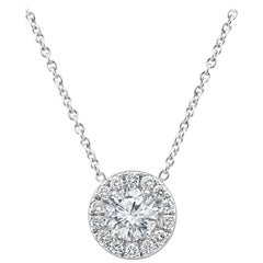 White Diamond Round 1.05 Carat Single Halo Solitaire Pendant White Gold Necklace