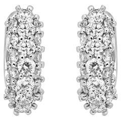 White Diamond Round 1.25 Carat 14 Karat White Gold Fashion Hoop Clip on Earrings