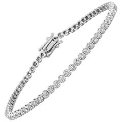 White Diamond Round 14 Karat Gold Single Line Classic Stackable Tennis Bracelet