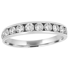 White Diamond Round 14 Karat White Gold Bridal Fashion Cocktail Channel Set Ring