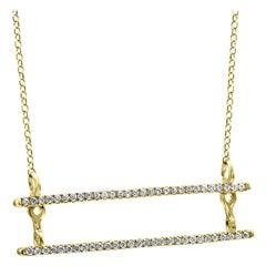 White Diamond Round 14 Karat Yellow Gold Fashion Pendant Chain Necklace
