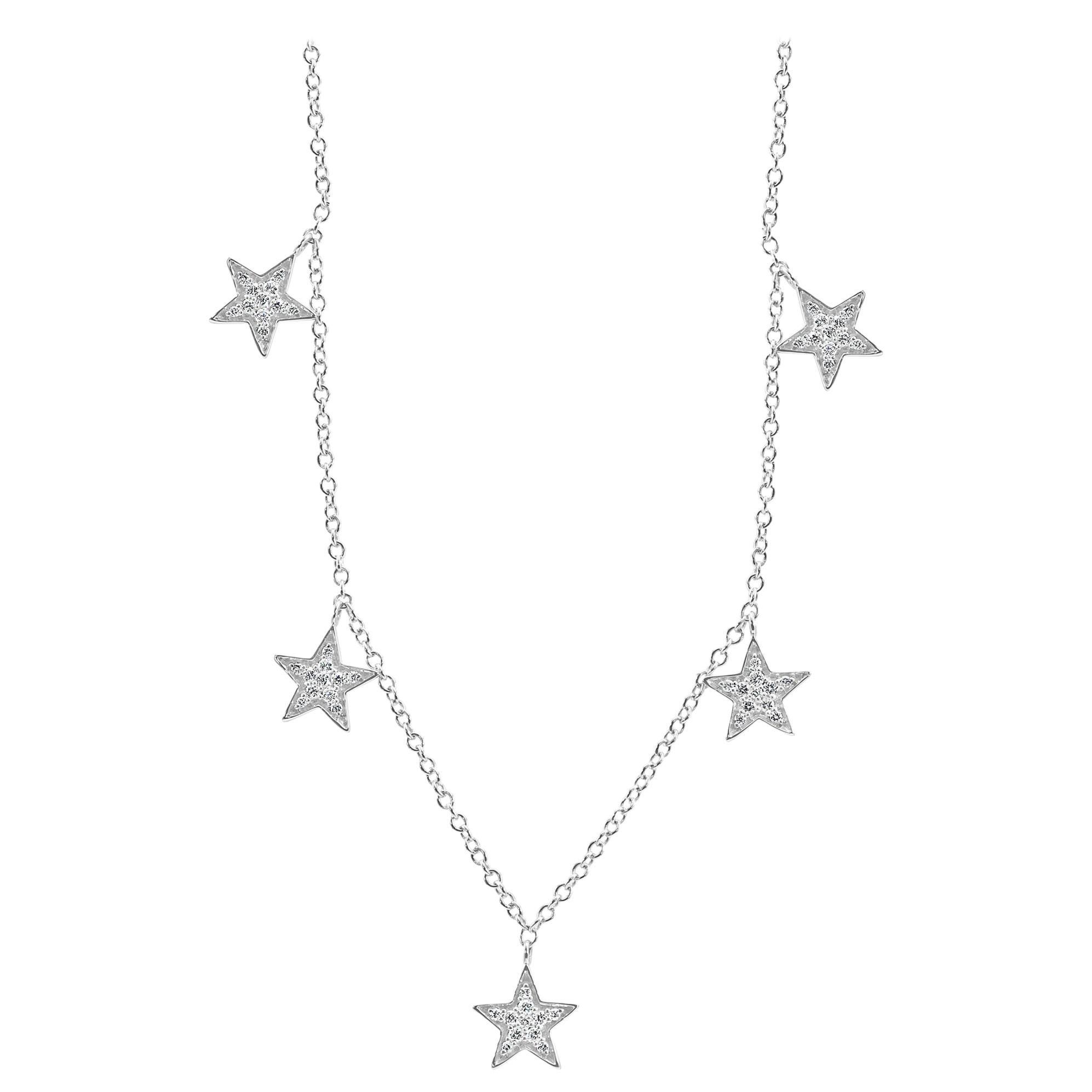 White Diamond Round 14K Gold Fashion Dangle Drop 5 Star Pendant Chain Necklace