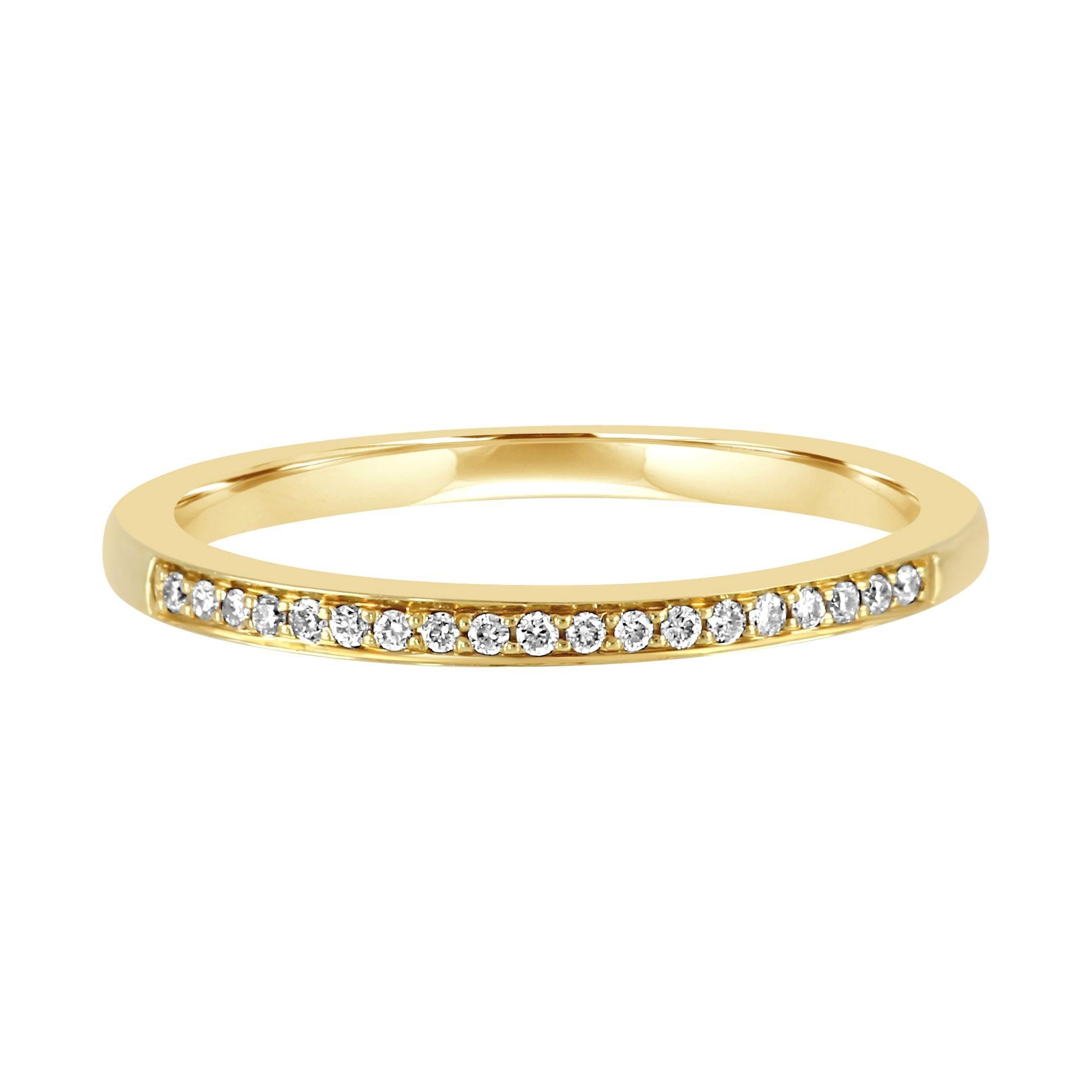 White Diamond Round 14k Yellow Gold Bridal Fashion Stackable Band Ring