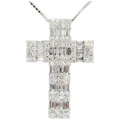 White Diamond Round and Baguette Cross Pendant Necklace in Platinum