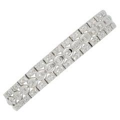 White Diamond Round and Square Bracelet in Platinum