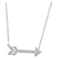 White Diamond Round Arrow Fashion Drop Pendant in 14K White Gold Stackable Neckl