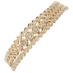 White Diamond Round Bracelet with 3 Rows in 18 Karat Yellow Gold