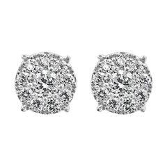 White Diamond Round Brilliant 14K White Gold Push Back Halo Stud Earrings