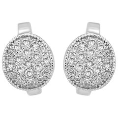 White Diamond Round Clip-On Fashion Dangle Earrings