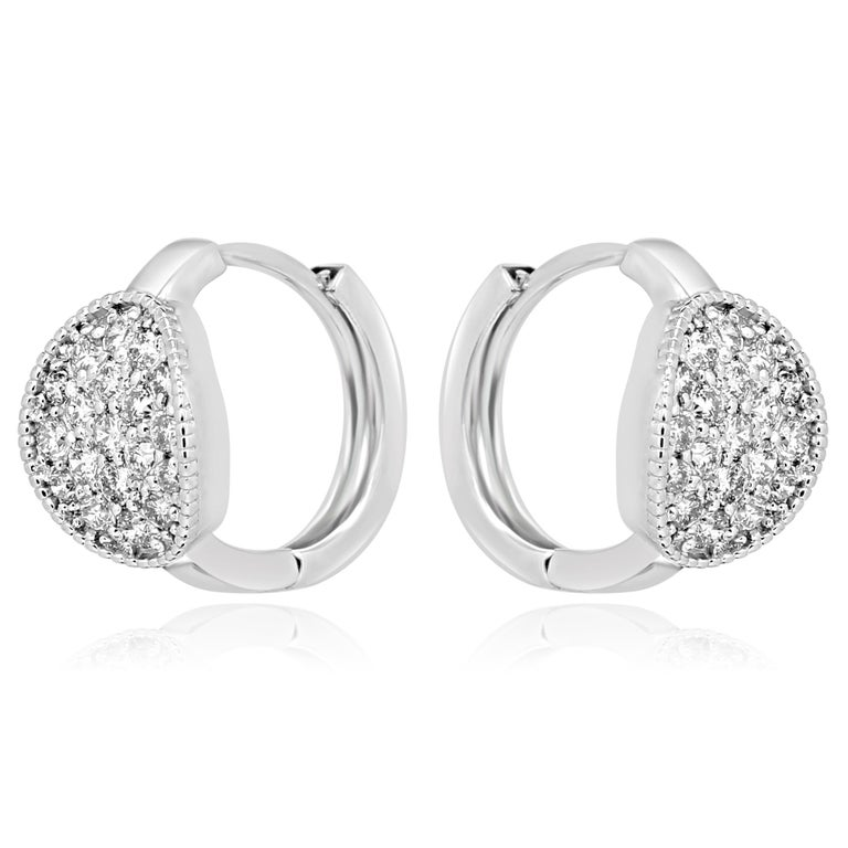 Contemporary White Diamond Round Gold Clip on Earring with Filigree on Side For Sale