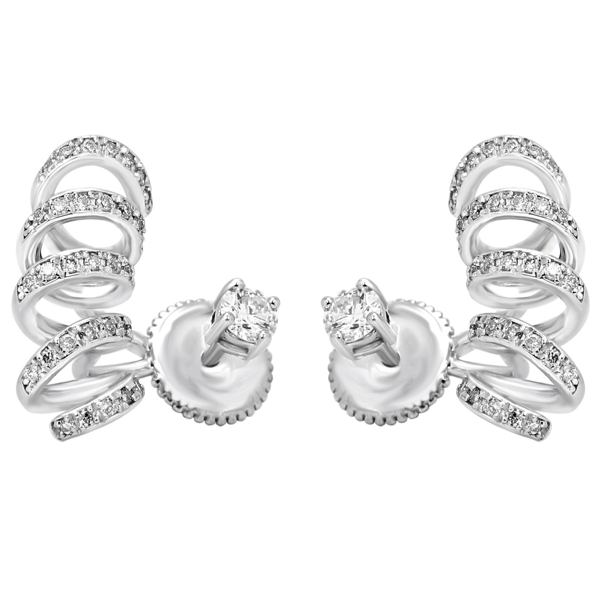 White Diamond Round Gold Ear Cuff  Ear Climber Jacket Style Earrings