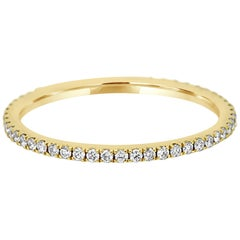 White Diamond Round Gold Eternity Wedding or Stackable Fashion Gold Band Ring