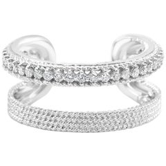 White Diamond Round Gold Fashion Cocktail Horseshoe Band Ring with Filigree