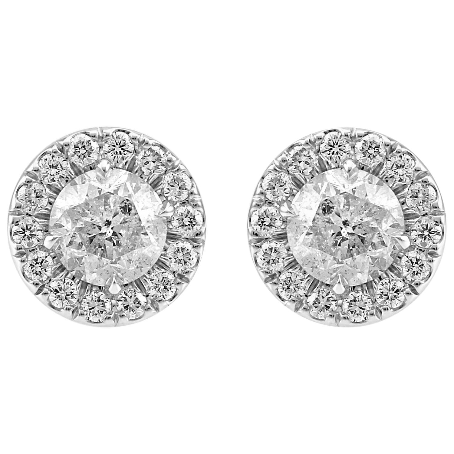 White Diamond Round Halo Gold Stud Earring 2.40 Carat Total Weight