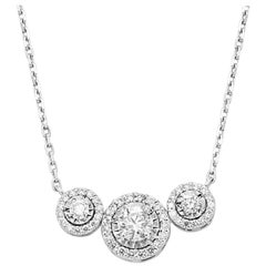 White Diamond Round Halo Three-Stone Gold Chain Pendant Fashion Necklace