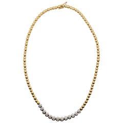 White Diamond Round Necklace in 14 Karat Two-Tone Gold