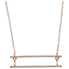 White Diamond Round Rose Gold Bar Style Fashion Drop Pendant Chain Necklace