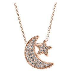White Diamond Round Rose Gold Moon and Star Fashion Chain Drop Pendant Necklace