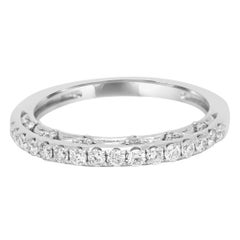 White Diamond Round White Gold Band Ring