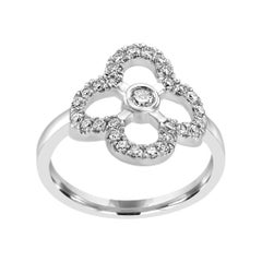 White Diamond Round White Gold Fashion Cocktail Right Hand Flower Ring