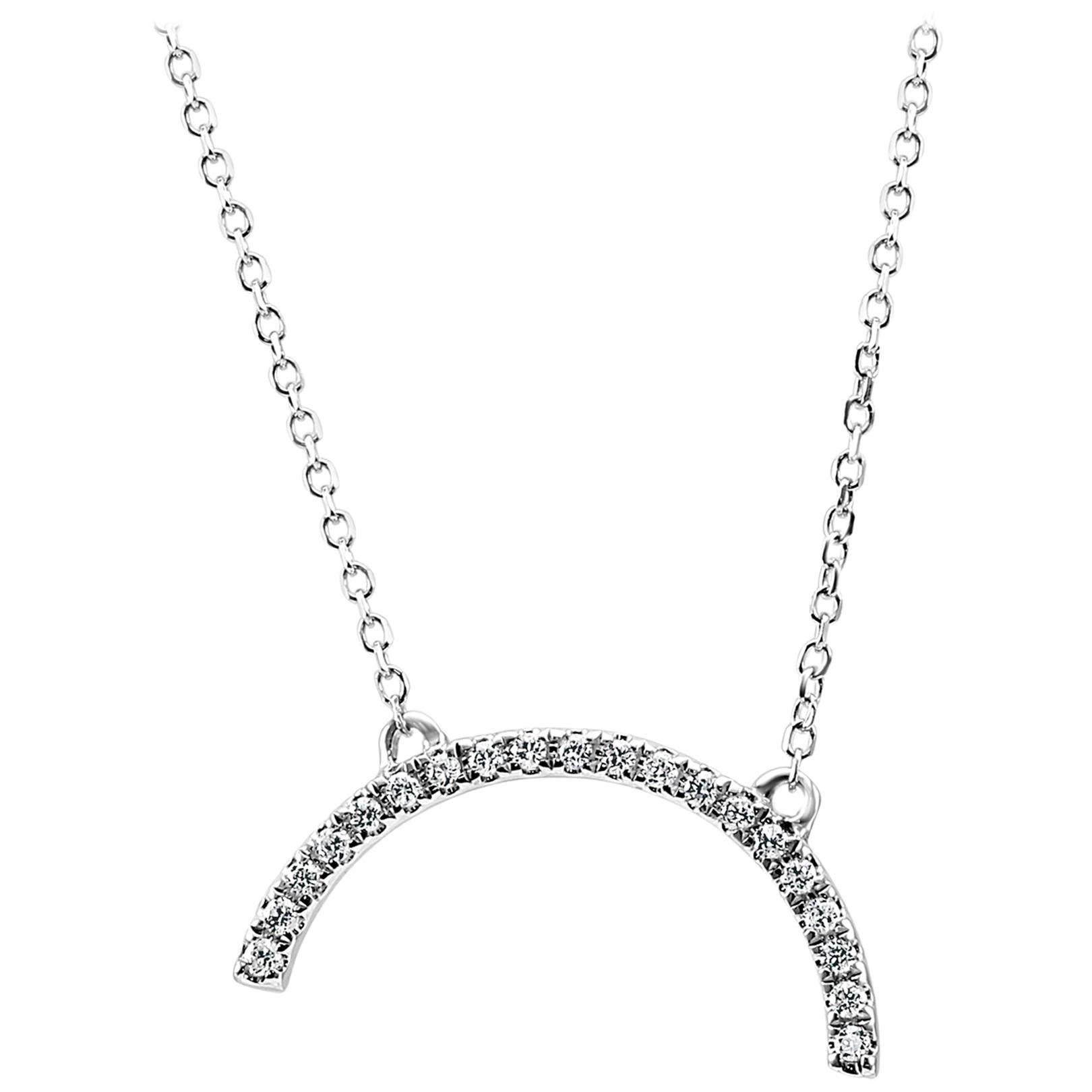White Diamond Round White Gold Fashion Drop Pendant Chain Necklace