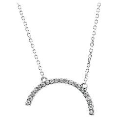 White Diamond Round White Gold Fashion Drop Pendant Chain Necklace