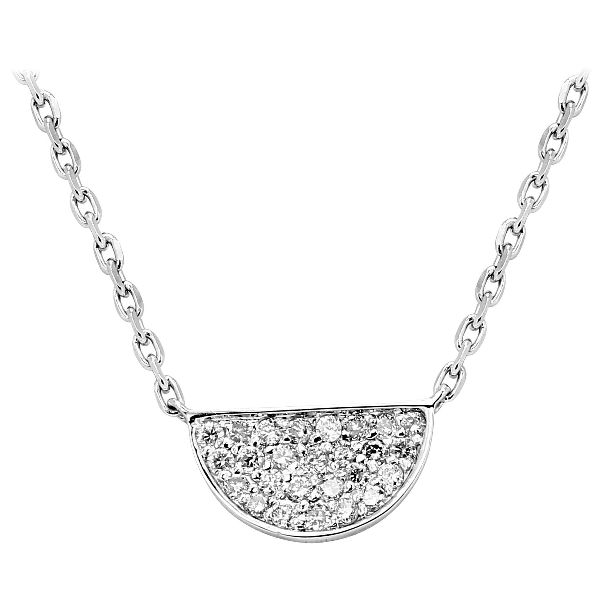 White Diamond Round White Gold Fashion Pendant Drop Chain Necklace