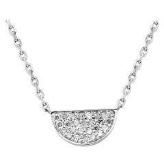 White Diamond Round White Gold Fashion Pendant Drop Chain Necklace