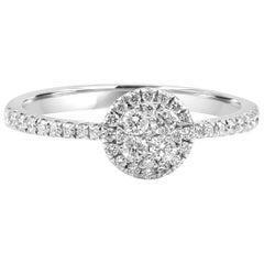 White Diamond Rounds 14 Karat Gold Cluster Bridal Fashion Cocktail Ring