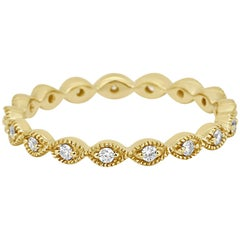 White Diamond Rounds Milgrain Gold Eternity Band Fashion Stackable Cocktail Ring