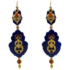 White Diamond Ruby Amethyst Coral Lapis Yellow Gold Lever-Back Earrings
