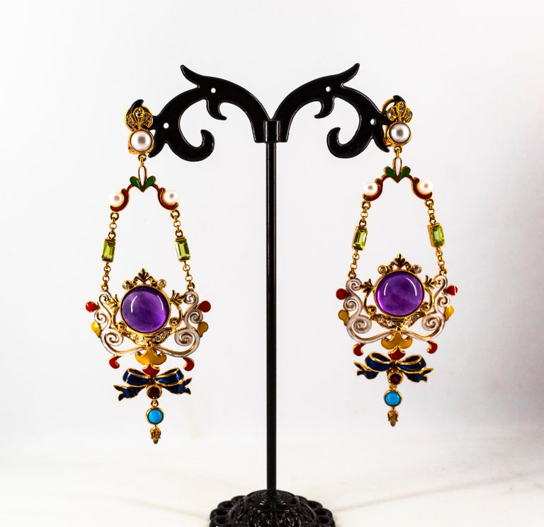White Diamond Ruby Amethyst Turquoise Peridot Pearl Yellow Gold Clip-On Earrings For Sale 5