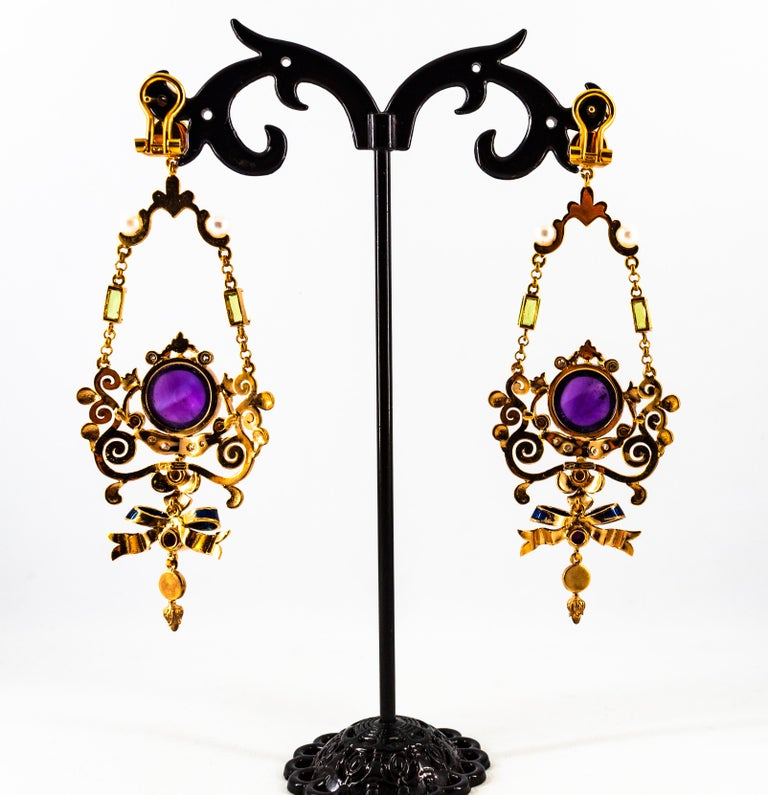 White Diamond Ruby Amethyst Turquoise Peridot Pearl Yellow Gold Clip-On Earrings For Sale 8