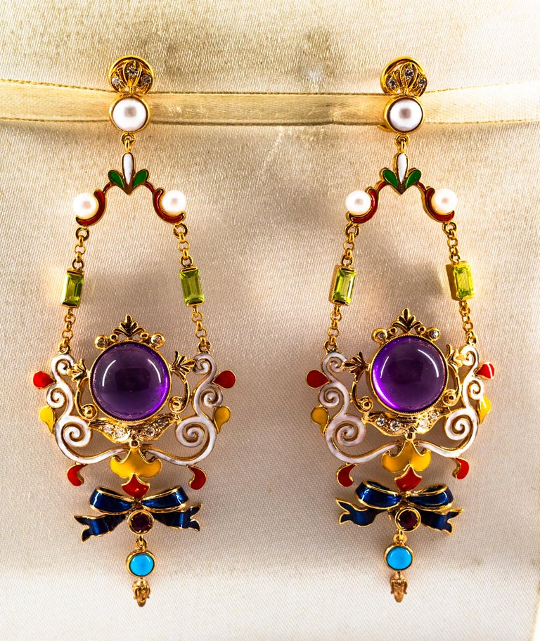 Art Nouveau White Diamond Ruby Amethyst Turquoise Peridot Pearl Yellow Gold Clip-On Earrings For Sale