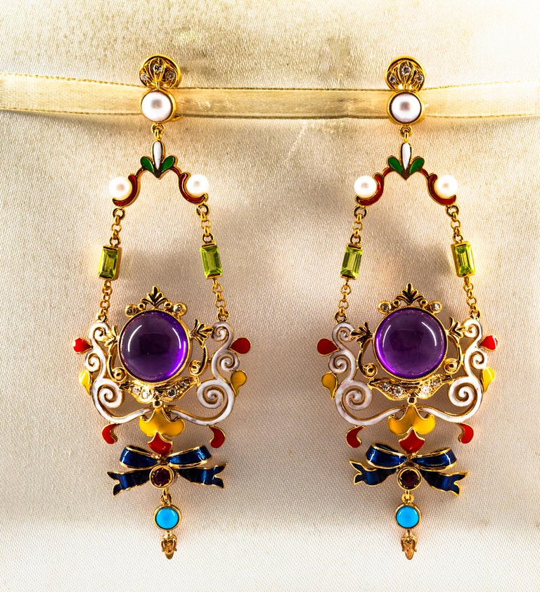 White Diamond Ruby Amethyst Turquoise Peridot Pearl Yellow Gold Clip-On Earrings In New Condition For Sale In Naples, IT