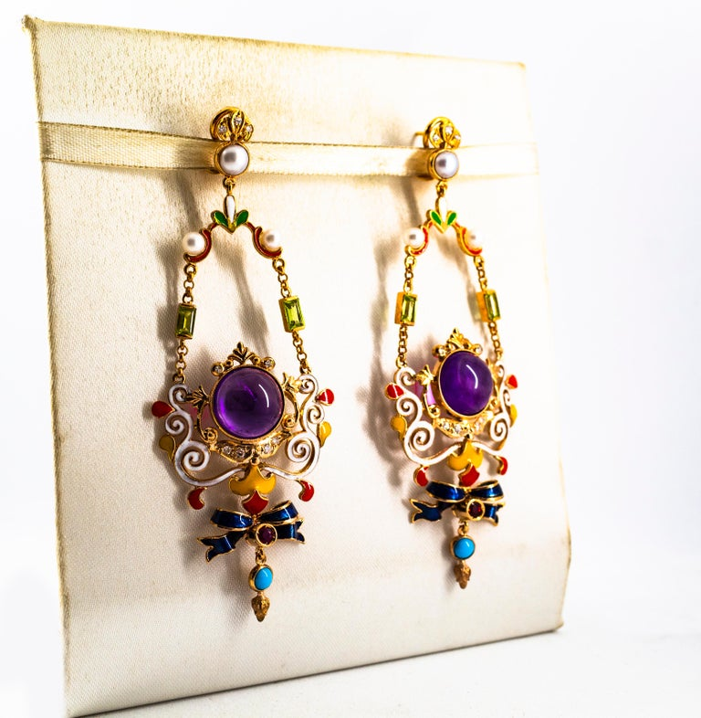 Women's or Men's White Diamond Ruby Amethyst Turquoise Peridot Pearl Yellow Gold Clip-On Earrings For Sale