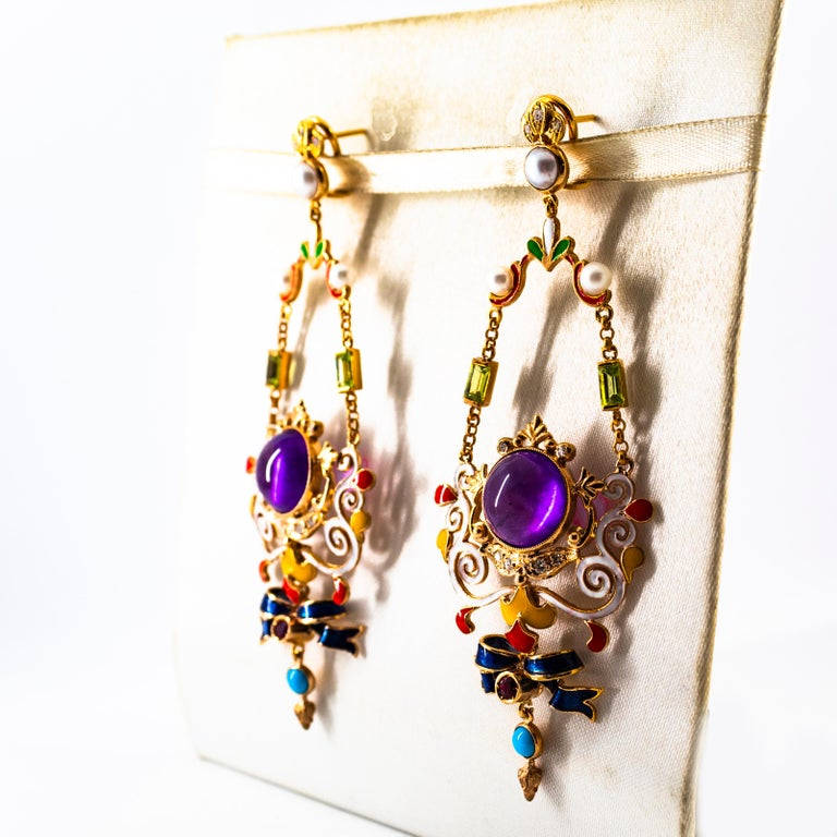 White Diamond Ruby Amethyst Turquoise Peridot Pearl Yellow Gold Clip-On Earrings For Sale 1