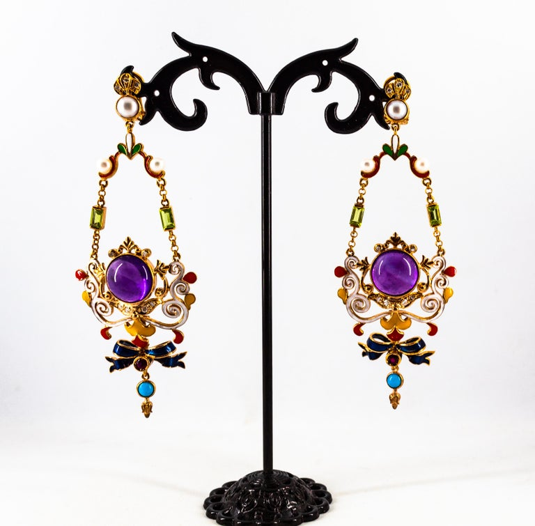 White Diamond Ruby Amethyst Turquoise Peridot Pearl Yellow Gold Clip-On Earrings For Sale 2