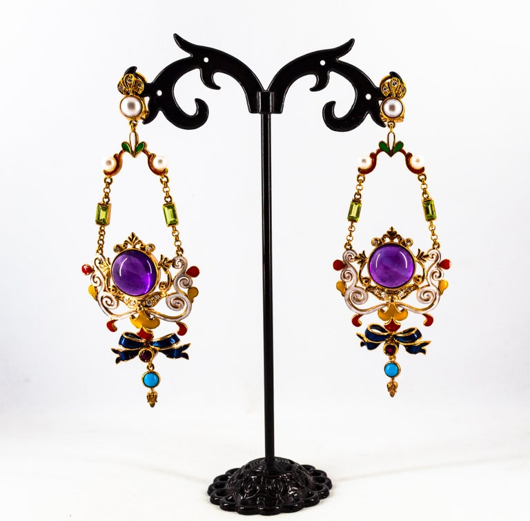White Diamond Ruby Amethyst Turquoise Peridot Pearl Yellow Gold Clip-On Earrings For Sale 3
