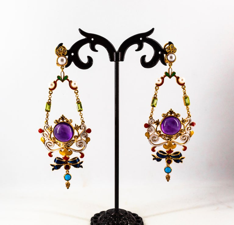 White Diamond Ruby Amethyst Turquoise Peridot Pearl Yellow Gold Clip-On Earrings For Sale 4