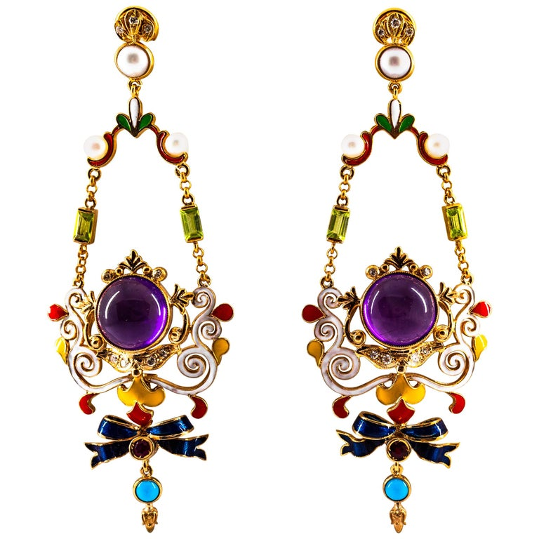 White Diamond Ruby Amethyst Turquoise Peridot Pearl Yellow Gold Clip-On Earrings For Sale
