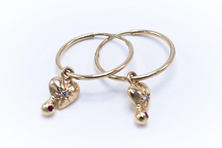 Contemporary White Diamond Ruby Heart Earring Gold Hoop J Dauphin For Sale