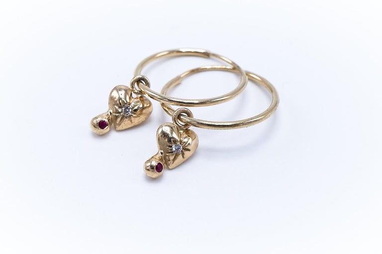 White Diamond Ruby Heart Earring Gold Hoop J Dauphin In New Condition For Sale In Los Angeles, CA